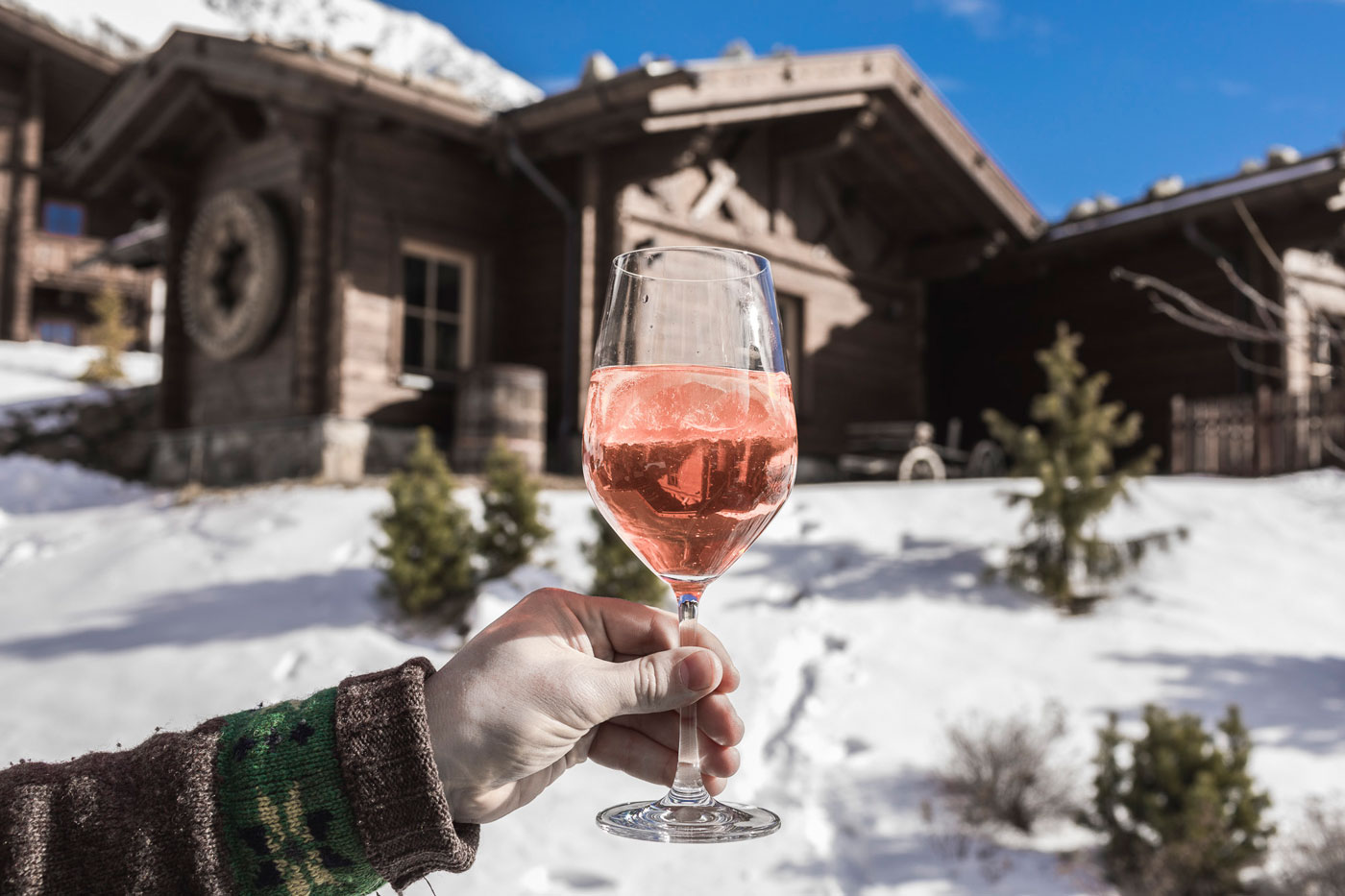 Snowy alp hut village Val Senales