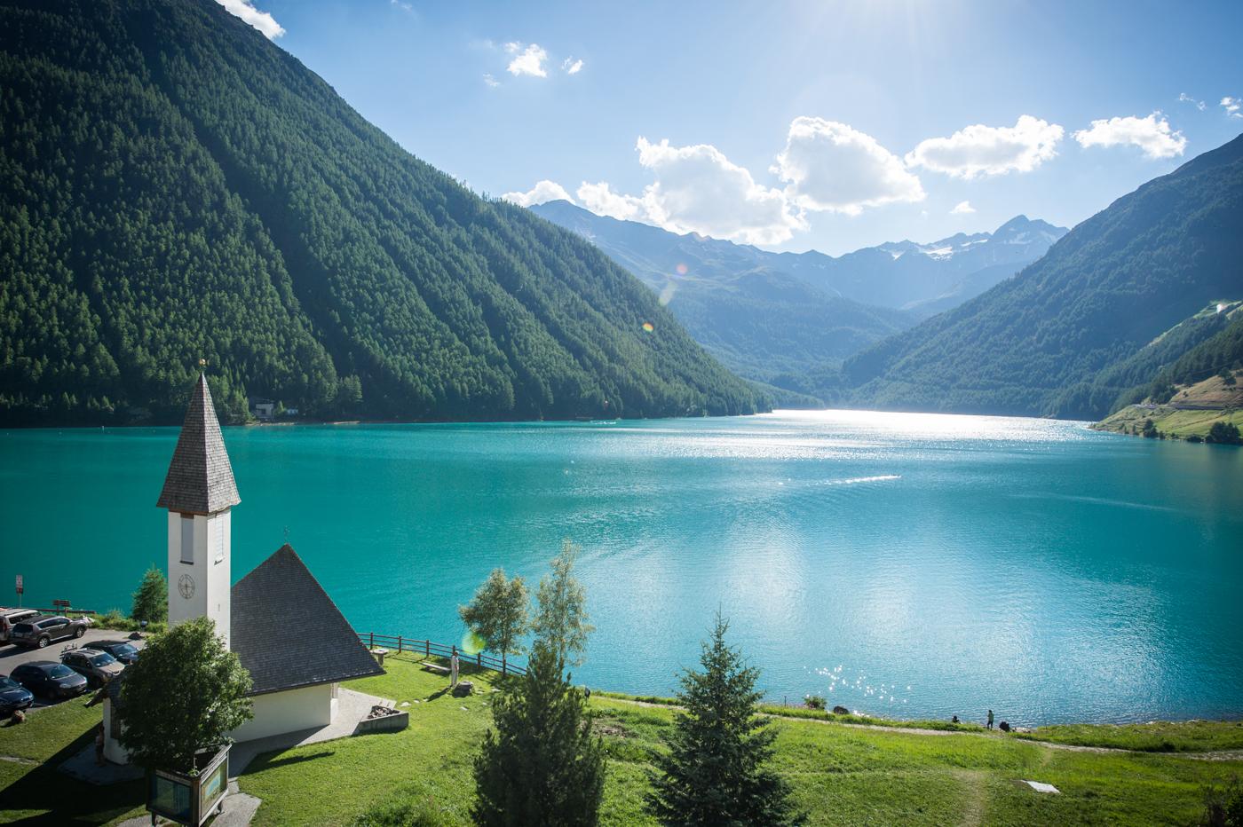 Green Vernago lake in summer